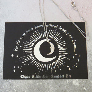 Edgar Allan Poe Moon Necklace - Gothic Literature Collection - Literary Emporium