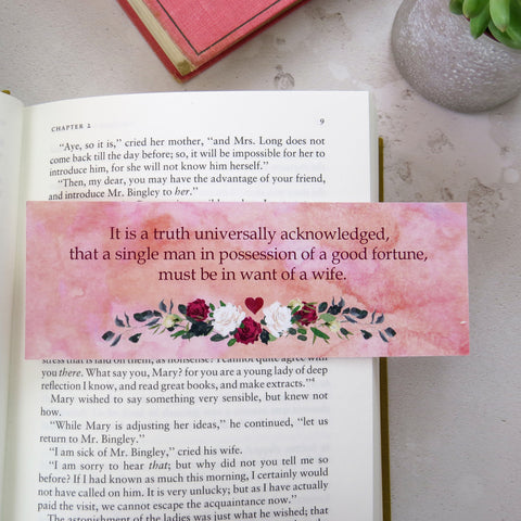 Pride and Prejudice Bookmark - First and Last Line Collection - Literary Emporium