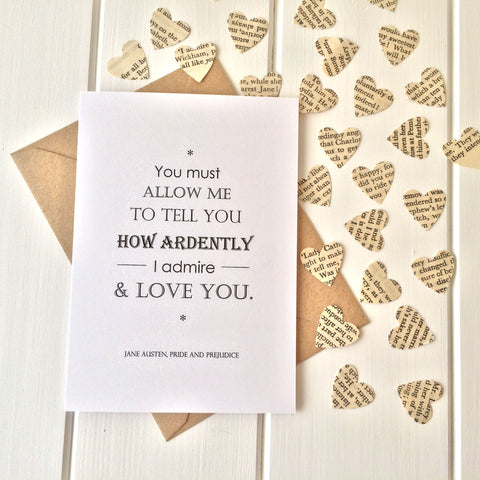 Pride And Prejudice Valentines Card - Literary Emporium