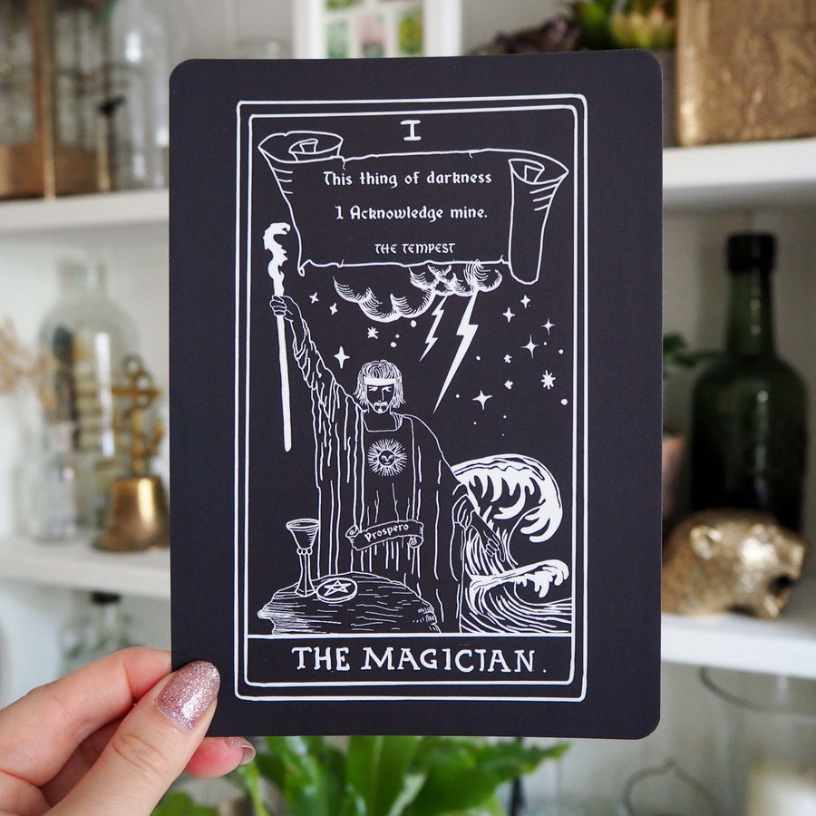 Prospero Tarot Card Mini Print - The Magician - Shakespeare Tarot Collection - Literary Emporium