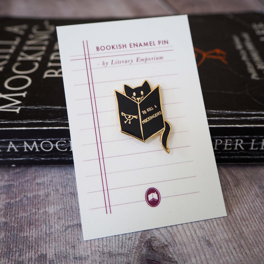 Reading Cat Enamel Pin - Literary Emporium