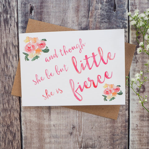 'And Though She Be But Little' Greetings Card - Literary Emporium