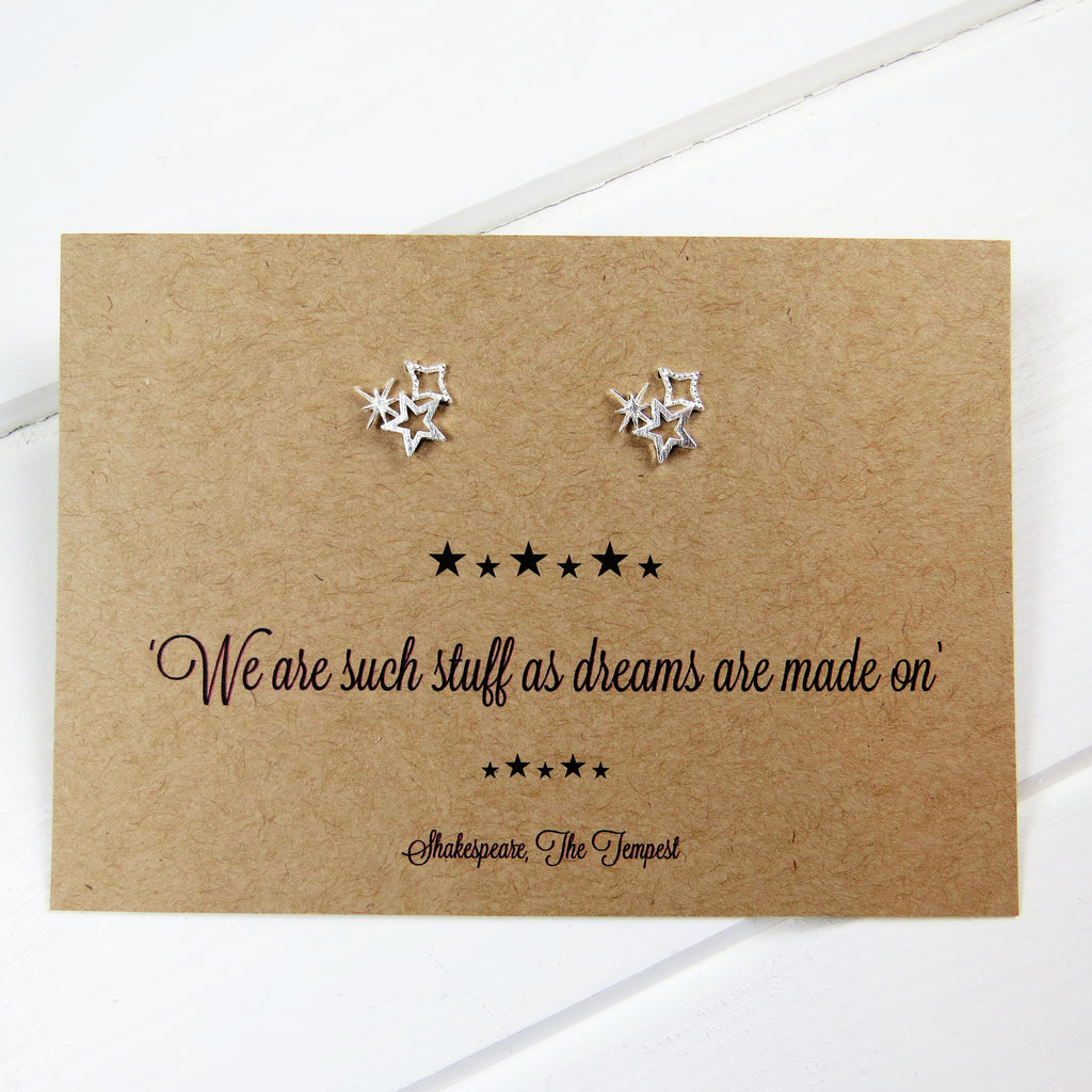 Shakespeare Star Earrings - Literary Emporium
