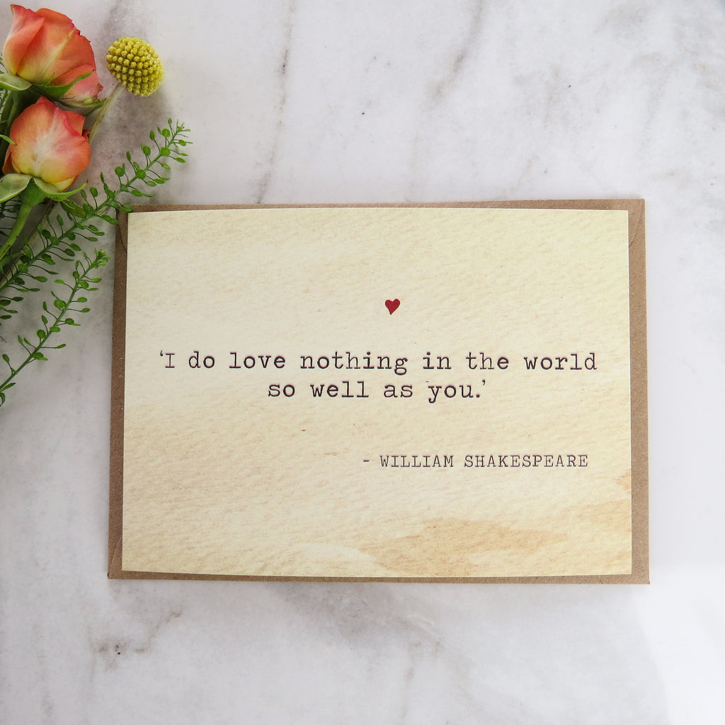 ... Literature Valentines Card Shakespeare Quote   Literary Emporium