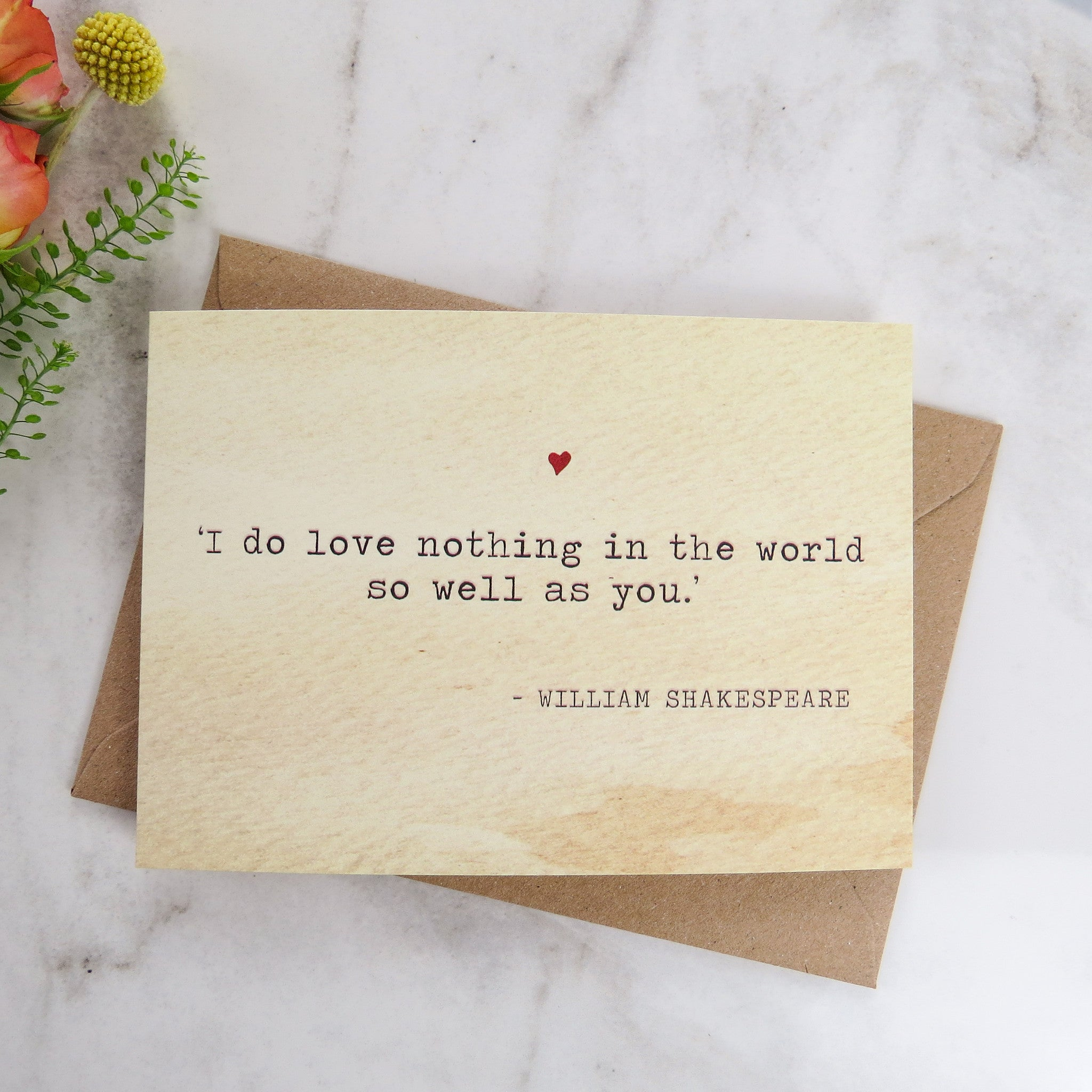 Marvelous Literature Valentines Card Shakespeare Quote   Literary Emporium