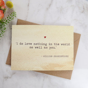 Literature Valentines Card Shakespeare Quote - Literary Emporium