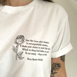 Percy Shelley 'Rise like Lions' Political Slogan T-Shirt - Literary Emporium