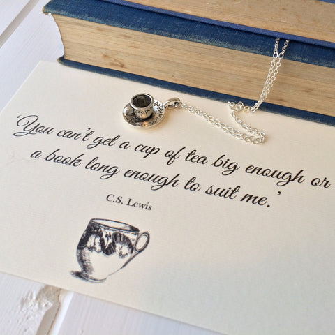 CS Lewis Teacup Necklace - Literary Emporium
