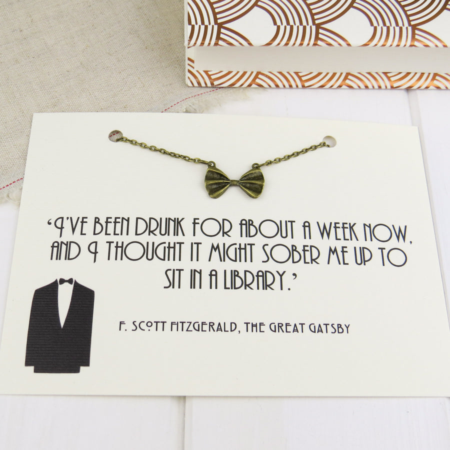 The Great Gatsby Bow Tie Necklace - BRONZE - Literary Emporium