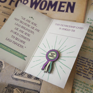 Votes for Women Rosette Enamel Pin - Votes for Women Collection - Literary Emporium