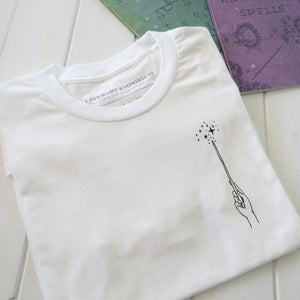 Magic Wand T-Shirt -White - Literary Emporium
