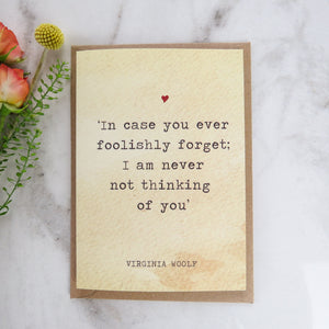 Literature Valentines Card Virginia Woolf Quote - Literary Emporium