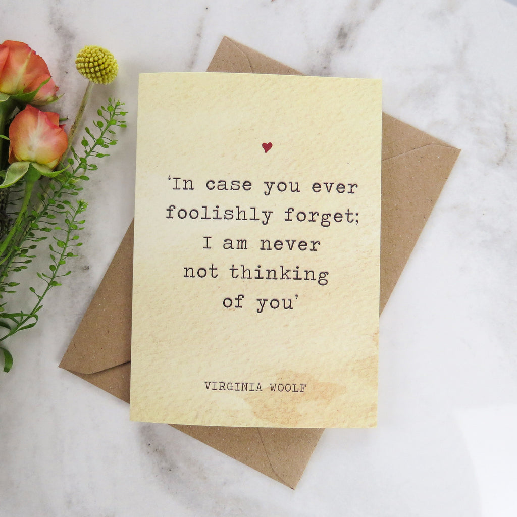 Literature Valentines Card Virginia Woolf Quote