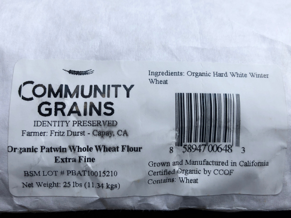 Identity Preserved, Organic Patwin Hard White Whole Milled Flour, Extra Fine, 25# Bag: Item 648