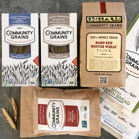 Community Grains Care Package, Large: 1 Flour, 1 Polenta, 2 Seeded Hearth Breads, 2 Pastas – Price Includes Expedited Shipping