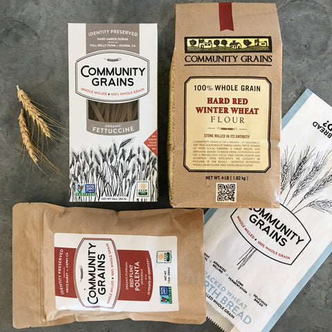 Community Grains Care Package, Small: 1 Flour, 1 Polenta, 1 Seeded Hearth Bread, 1 Pasta – Price Includes Expedited Shipping