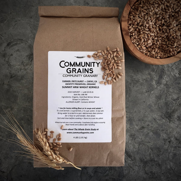Identity Preserved, Organic Summit Hard Red Winter Wheat Kernels: 4lb Bag
