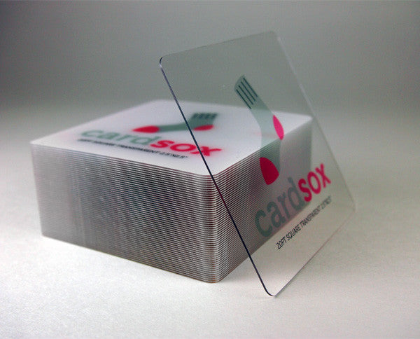 "Transparent square plastic business cards with full color printing 2.5""x2.5"""