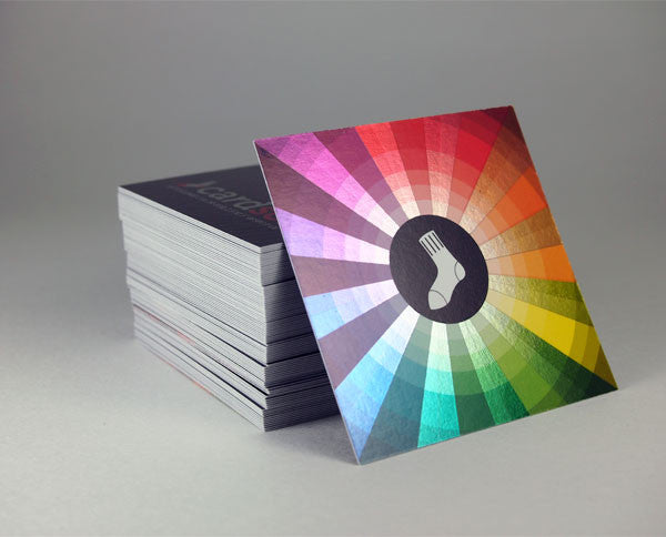 "Square ColorFoil business cards with spot UV 2.5""x2.5"""