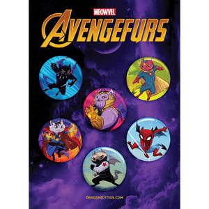 """AvengeFURS"" Purple Dragon Kitties 6-Button Pack"