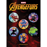 """AvengeFURS"" Red Dragon Kitties 6-Button Pack"