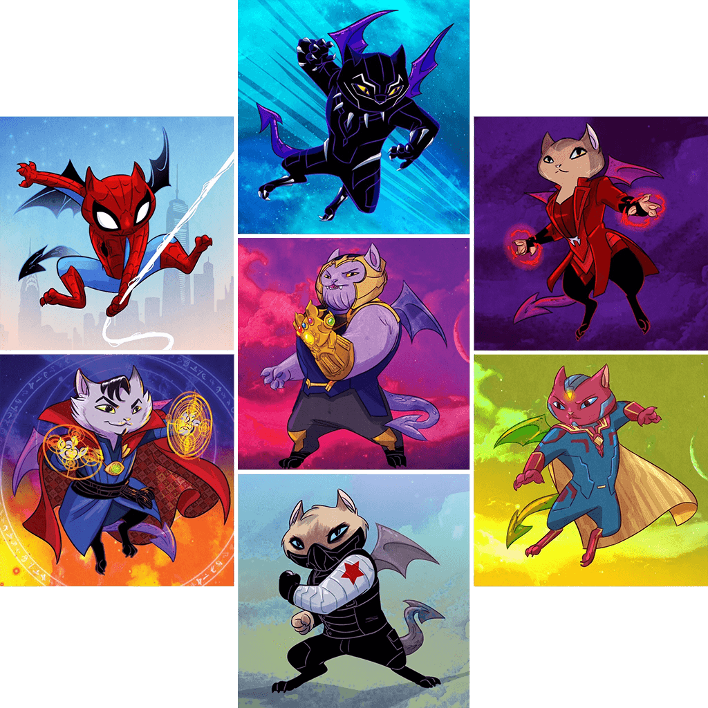 """AvengeFURS"" PURPLE Dragon Kitties 7-Print Set"
