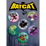 """BatCat"" Dragon Kitties 6-Button Pack"