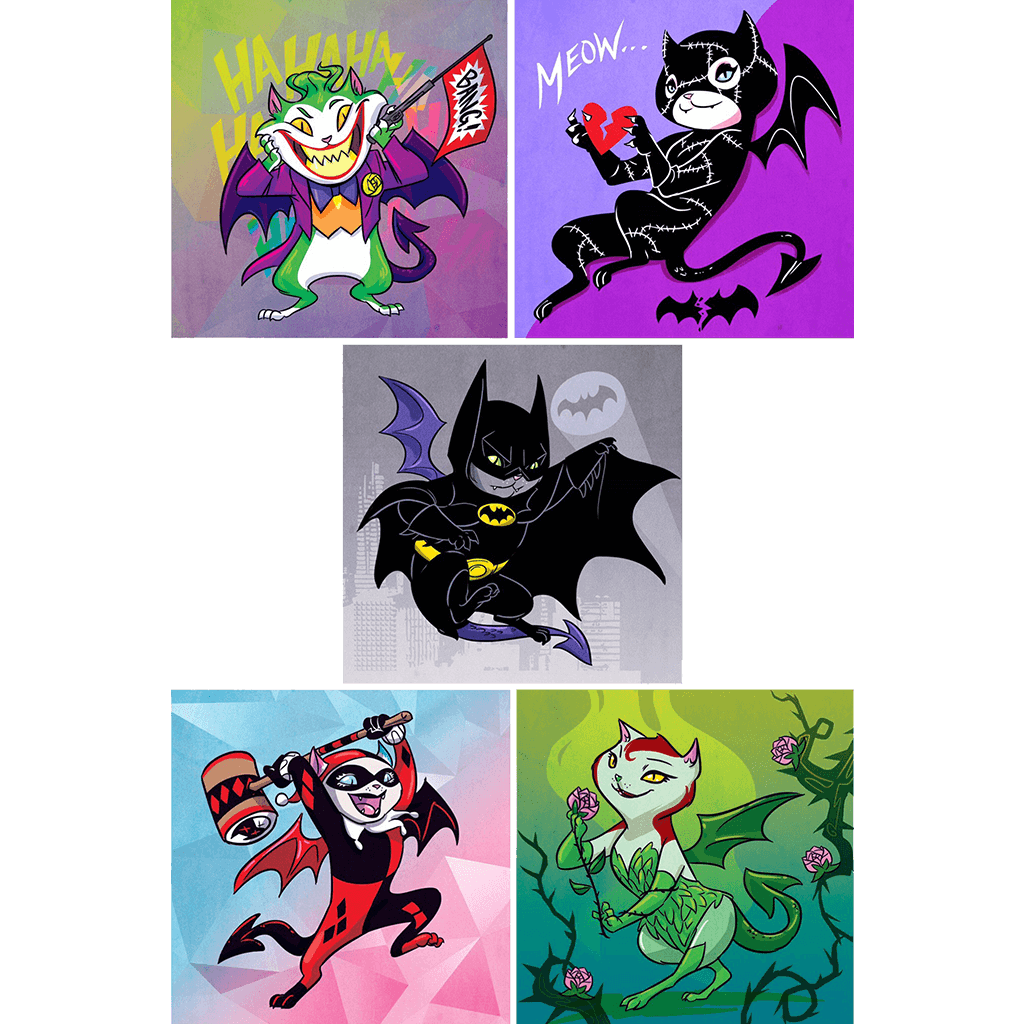 """BatCat"" Dragon Kitties 5-Print Set"