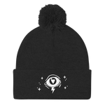 3rd Eye Pom-Pom Beanie in Black Magick
