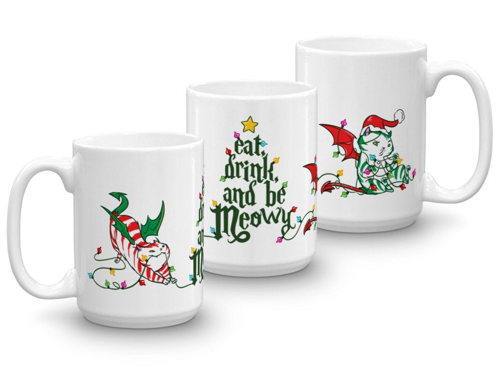 """Eat Drink & Be Meowy"" Dragon Kitty HEXmas Mug"