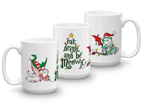 Dragon Kitty HEXmas Mug - Eat Drink & Be Meowy