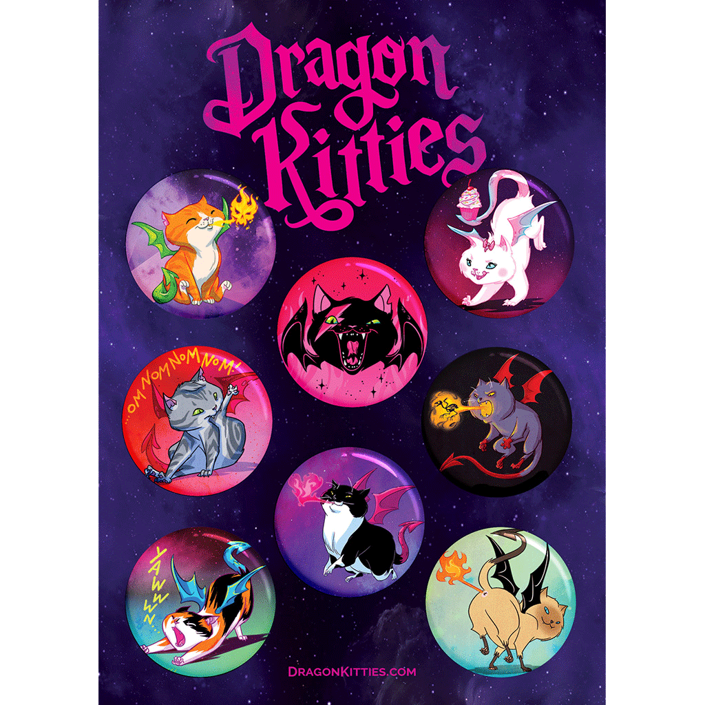 Dragon Kitties™ Originals 8-Button Pack
