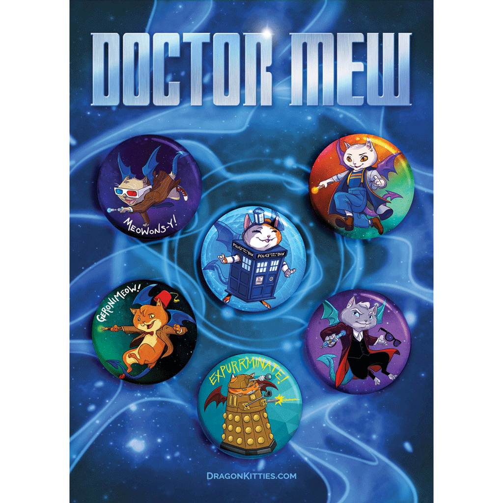 """Doctor MEW"" Dragon Kitties 6-Button Pack"