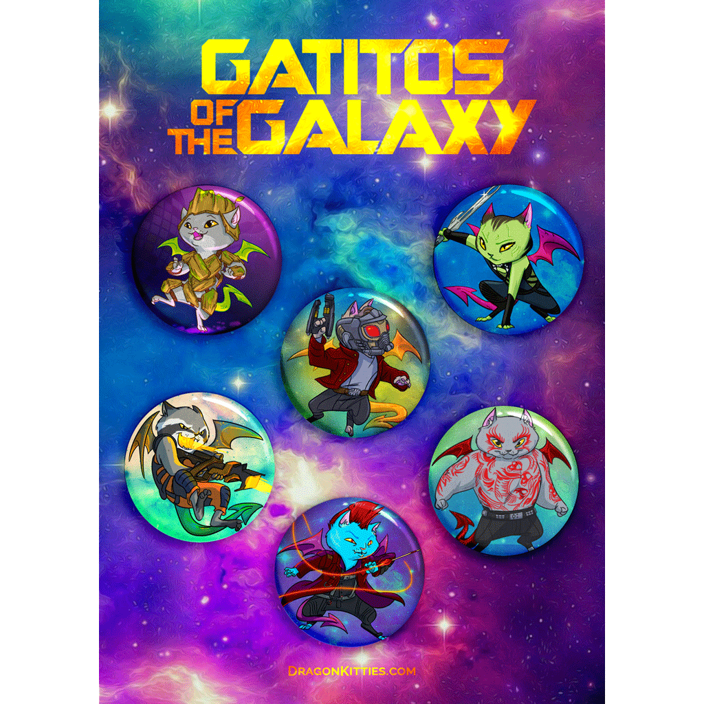 """Gatitos Of The Galaxy"" Dragon Kitties 6-Button Pack"