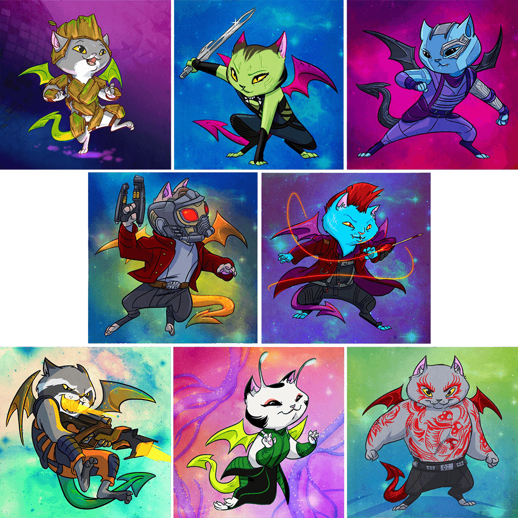 """Gatitos of the Galaxy"" Dragon Kitties 8-Print Set"
