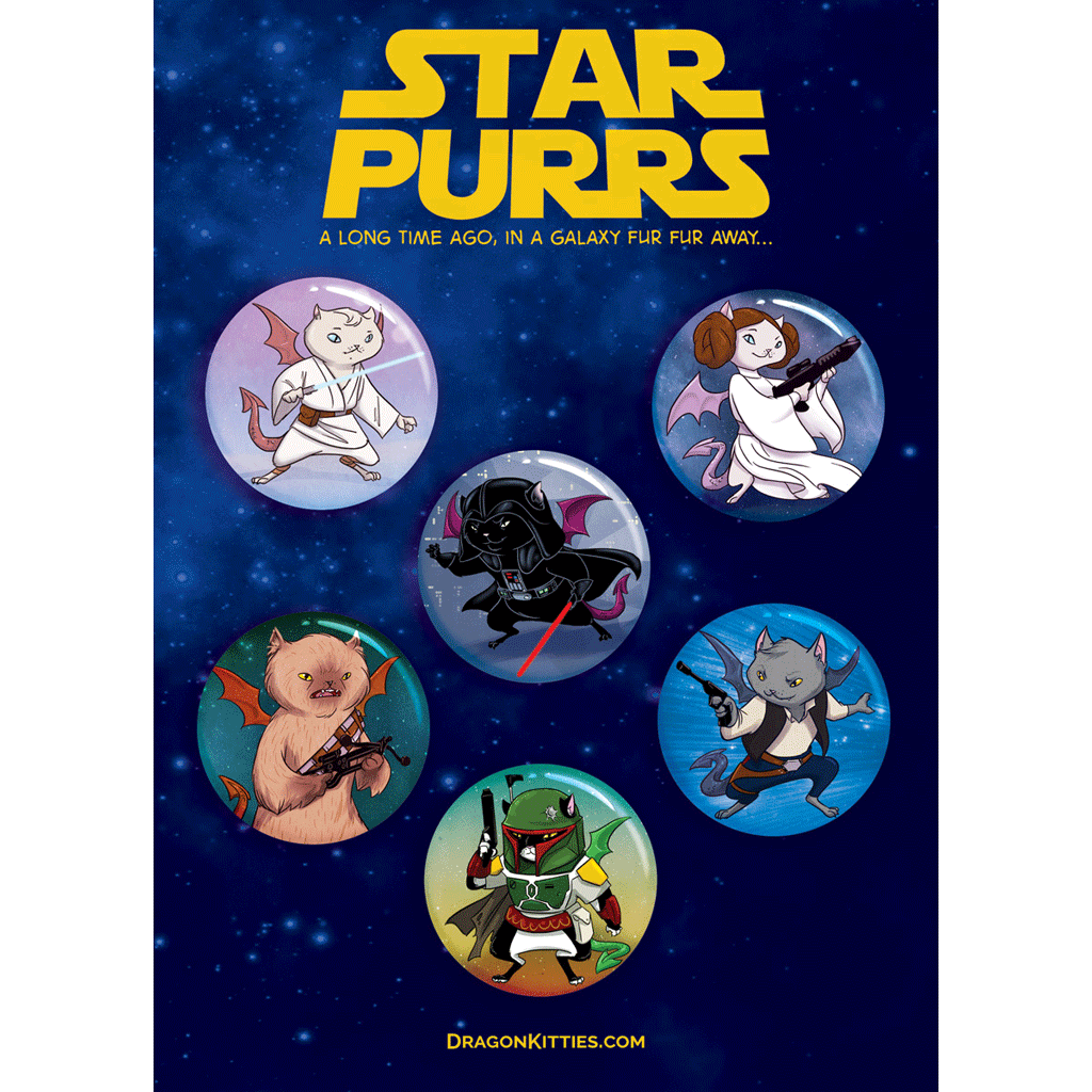 """Star Purrs"" Dragon Kitties 6-Button Pack"