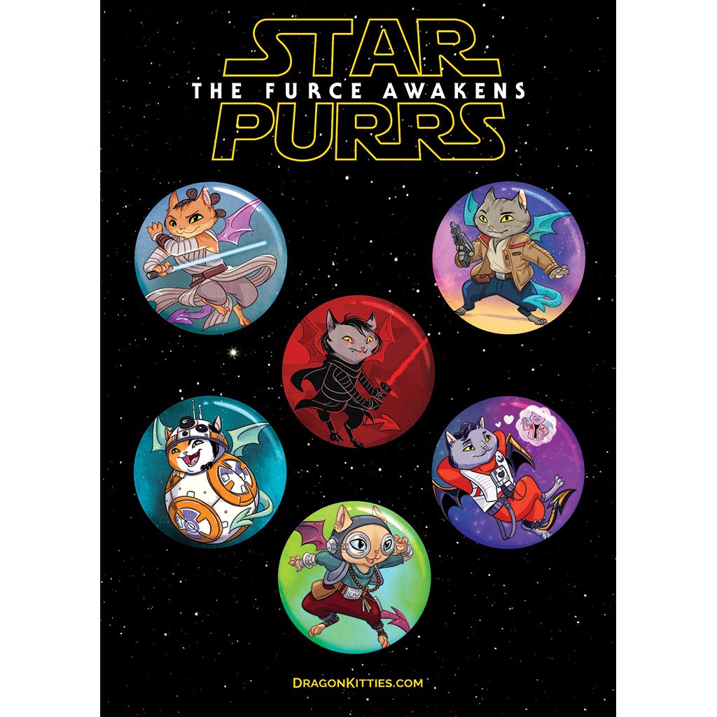 """Star Purrs: The FURce Awakens"" Dragon Kitties 6-Button Pack"