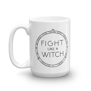 """Fight Like A Witch"" Mug in White Magic"