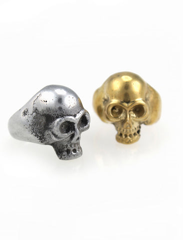 Handmade aluminium and brass skull rings