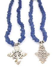 Silver coptic cross and recycled glass bead necklace