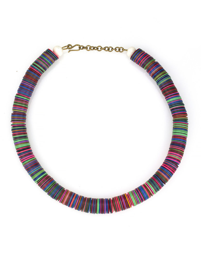 Bright recycled plastic disc necklace