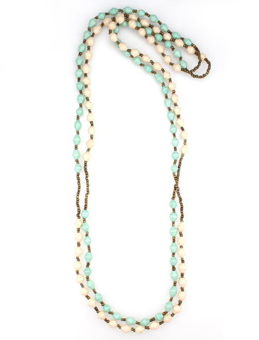 Handmade cream and aqua paper bead necklace.