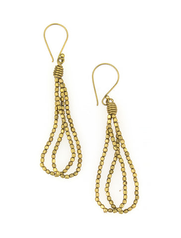 Small recycled brass bead earrings.