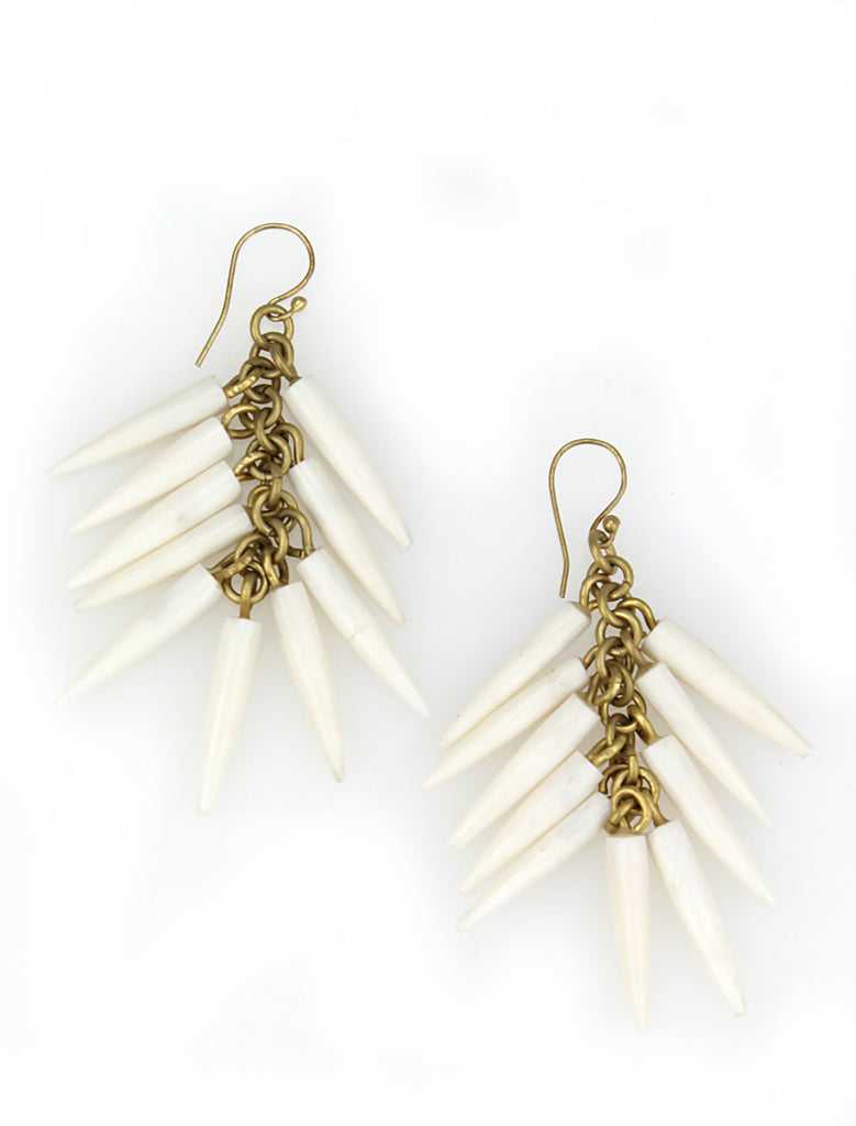 Cow bone quill earrings