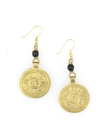 Black bone and brass plate earring.