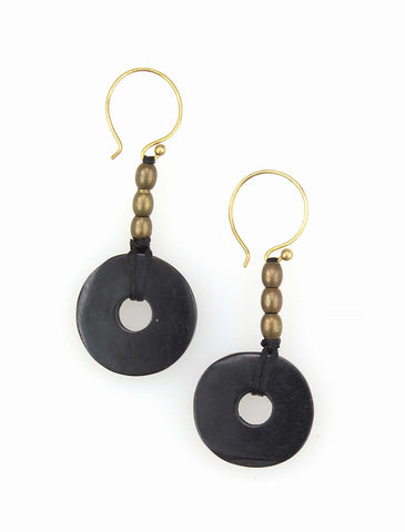 Bone and brass earrings