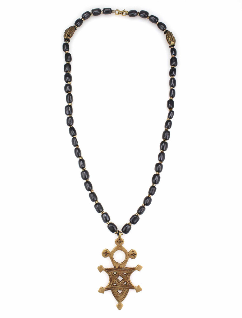 bone and brass pendant necklace
