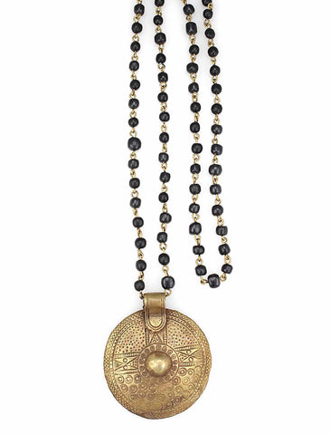 brass disc and bone chain necklace