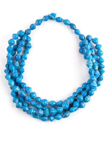 Blue paper bead necklace