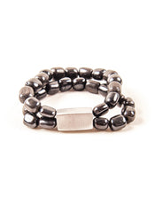 Black Bone Bangle - with Aluminium bead